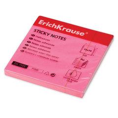 Блок самоклеящийся (стикер) ERICH KRAUSE НЕОН, 75×75 мм, 80 листов, розовый