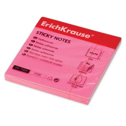 Блок самоклеящийся (стикер) ERICH KRAUSE НЕОН, 75х75 мм, 80 листов, розовый