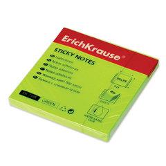 Блок самоклеящийся (стикер) ERICH KRAUSE НЕОН, 75×75 мм, 80 листов, зеленый