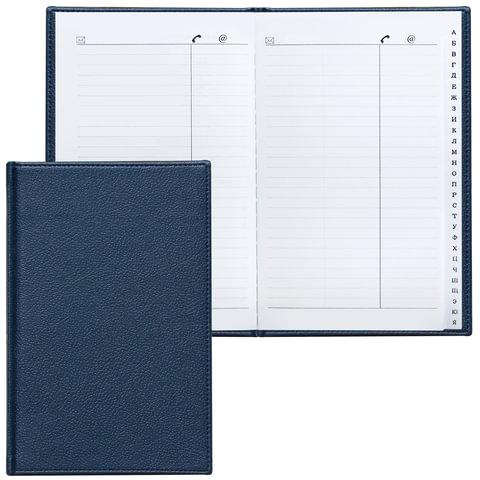 Телефонная книжка А5, 136×202 мм, 96 л., BRAUBERG (БРАУБЕРГ), вырубной алфавит, «Favorite», под классическую кожу, темно-синяя