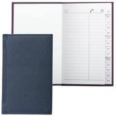 Телефонная книжка А7, 80×130 мм, 56 л., BRAUBERG, вырубной алфавит, «Favorite», под классическую кожу, темно-синия
