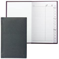 Телефонная книжка А7, 80×130 мм, 56 л., BRAUBERG, вырубной алфавит, «Favorite», под классическую кожу, черная