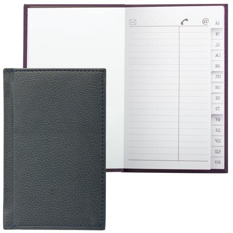 Телефонная книжка А7, 80×130 мм, 56 л., BRAUBERG (БРАУБЕРГ), вырубной алфавит, «Favorite», под классическую кожу, черная