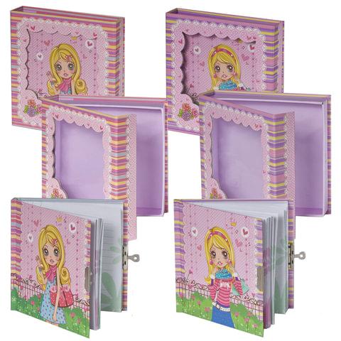Блокнот 7БЦ, А6, 60 л., металлический замок, блестки, подарочная упаковка, BRAUBERG (БРАУБЕРГ) «Стильная девчонка», 145×155 мм