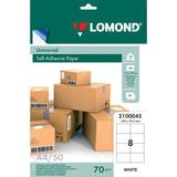 Этикетка самоклеящаяся LOMOND на листе формата А4, 8 этикеток, размер 105×74,3 мм, белая, 50 л.
