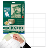 Этикетка самоклеящаяся LOMOND на листе формата А4, 14 этикеток, размер 105×42,3 мм, белая, 50 л.