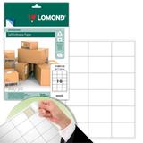 Этикетка самоклеящаяся LOMOND на листе формата А4, 18 этикеток, размер 66,7×46 мм, белая, 50 л.
