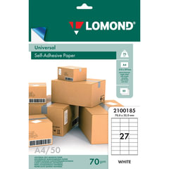 Этикетка самоклеящаяся LOMOND на листе формата А4, 27 этикеток, размер 70×32 мм, белая, 50 л., 2100185