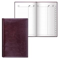Телефонная книжка А5, 136×202 мм, 96 л., BRAUBERG, вырубной алфавит, «Imperial», под гладкую кожу, темно-коричневая