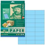 Этикетка самоклеящаяся LOMOND на листе формата А4, 24 этикетки, размер 70×37 мм, голубая, 50 л.