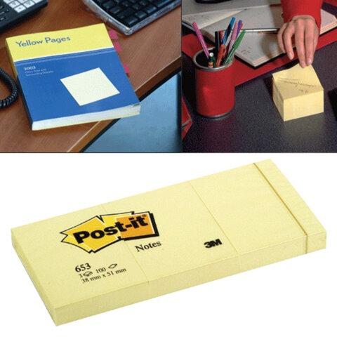 Блоки самоклеящиеся POST-IT, комплект 3 шт., 38×51 мм, 100 л., желтые (3М, США)