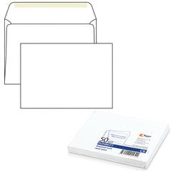 Конверт С6, комплект 50 шт., клей декстрин, белый, 114×162 мм