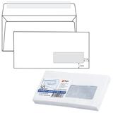 Конверт Е65, комплект 50 шт., отрывная полоса STRIP, белый, правое окно, 110×220 мм