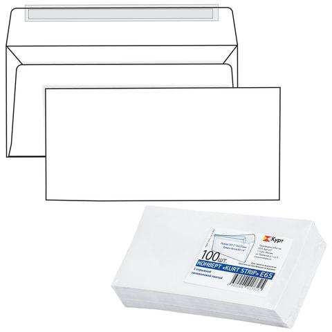 Конверт Е65, комплект 100 шт., отрывная полоса STRIP, белый, 110×220 мм