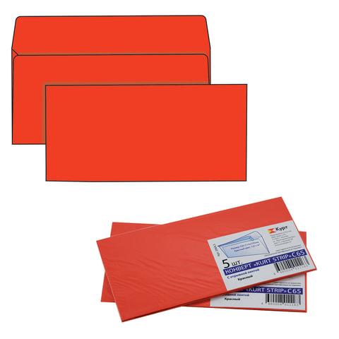 Конверты С65, комплект 5 шт., отрывная полоса STRIP, красные, упаковка с европодвесом, 114х229 мм