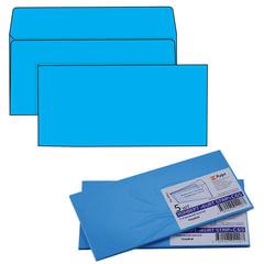 Конверты С65, комплект 5 шт., отрывная полоса STRIP, голубые, упаковка с европодвесом, 114×229 мм