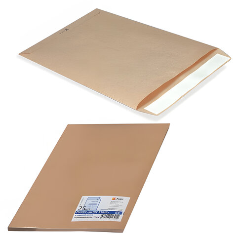 Конверт-пакет С5 плоский, комплект 25 шт., 162×229 мм, отрывная полоса, крафт-бумага, коричневый, на 90 листов