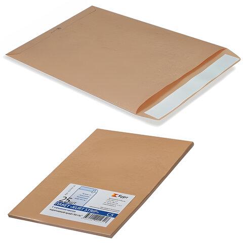 Конверт-пакет В4 плоский, комплект 25 шт., 250х353 мм, отрывная полоса, крафт-бумага, коричневый, на 140 листов