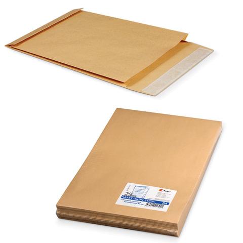 Конверт-пакет В4 объемный, комплект 25 шт., 250×353×40 мм, отрывная полоса, крафт-бумага, коричневый, на 300 листов