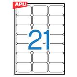 Этикетка самоклеящаяся APLI на листе формата А4, 21 этикетка, размер 63,5×38,1 мм, белая, 100 л., 02414