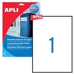 Этикетка самоклеящаяся APLI на листе формата А4, 1 этикетка, размер 210×297 мм, всепогодная, белая, 20 л., 01228
