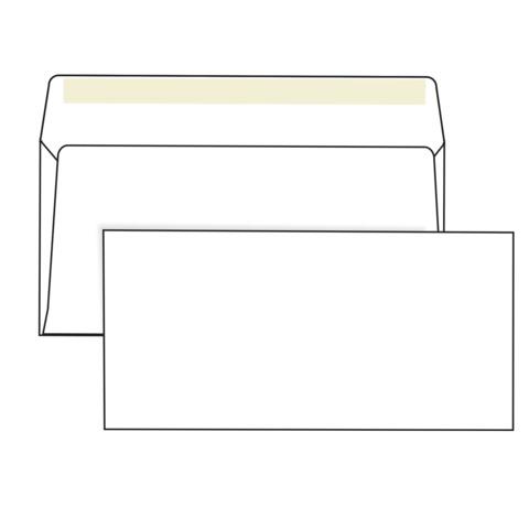 Конверты Е65, комплект 1000 шт., клей декстрин, белые, 110×220 мм