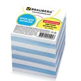 Блок для записей BRAUBERG (БРАУБЕРГ), непроклеенный, 9×9×9, голубой+белый