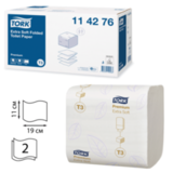 Бумага туалетная TORK (Т3), комплект 30 шт., Premium E Soft, листовая, 252 л., 11×19, 2-х слойная, диспенсер 600292, 114276