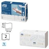 Полотенца бумажные 110 шт., TORK (H2) Premium, комплект 21шт., 2-х слойные, белые, 21×34 см, Interfold, диспенсер 600282, 100288