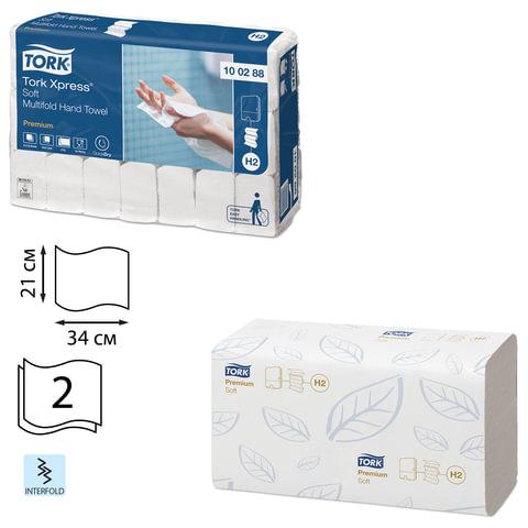 Полотенца бумажные 110 шт., TORK (Система H2) Premium, комплект 21 шт., 2-слойные, белые, 21×34, Interfold, 100288