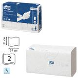Полотенца бумажные, 136 шт., TORK (Система H2) Advanced, комплект 21 шт., 2-слойные, белые, 21×34, Interfold, 120288
