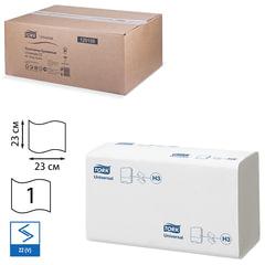 Полотенца бумажные 250 шт., TORK (Система H3) Universal, комплект 20 шт., натуральные белые, 23×23, ZZ(V), 120108