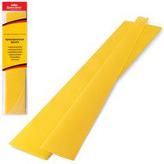 Цветная бумага крепированная BRAUBERG, стандарт, растяжение до 65%, 25 г/<wbr/>м<sup>2</sup>, европодвес, желтая, 50×200 см