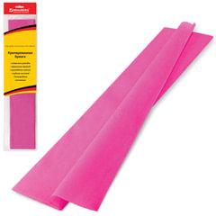 Цветная бумага крепированная BRAUBERG, стандарт, растяжение до 65%, 25 г/<wbr/>м<sup>2</sup>, европодвес, розовая, 50×200 см