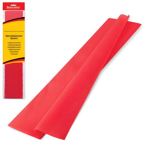 Цветная бумага крепированная BRAUBERG (БРАУБЕРГ), стандарт, растяжение до 65%, 25 г/<wbr/>м<sup>2</sup>, европодвес, красная, 50×200 см