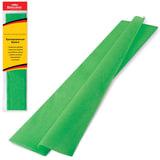 Цветная бумага крепированная BRAUBERG, стандарт, растяжение до 65%, 25 г/<wbr/>м<sup>2</sup>, европодвес, зеленая, 50×200 см