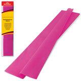 Цветная бумага крепированная BRAUBERG, стандарт, растяжение до 65%, 25 г/<wbr/>м<sup>2</sup>, европодвес, темно-розовая, 50×200 см