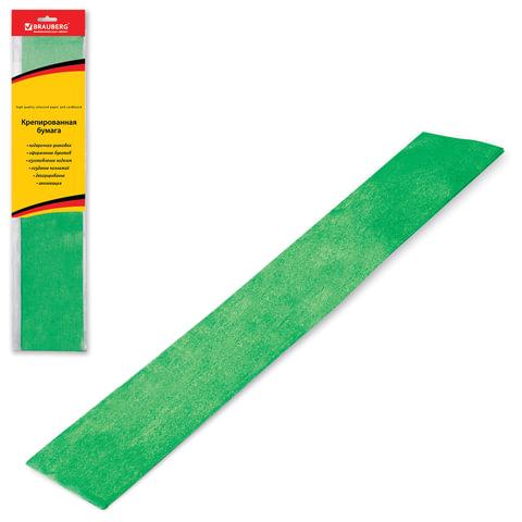 Цветная бумага крепированная BRAUBERG (БРАУБЕРГ), металлик, растяжение до 35%, 50 г/<wbr/>м<sup>2</sup>, европодвес, зеленая, 50×100 см