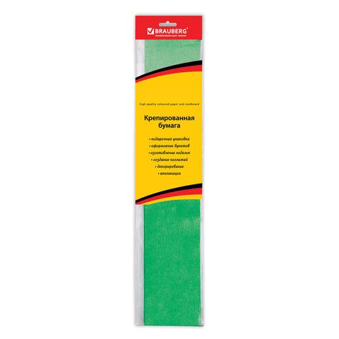 Цветная бумага крепированная BRAUBERG, металлик, растяжение до 35%, 50 г/м2, европодвес, зеленая, 50х100 см