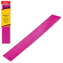 Цветная бумага крепированная BRAUBERG, металлик, растяжение до 35%, 50 г/<wbr/>м<sup>2</sup>, европодвес, розовая, 50×100 см