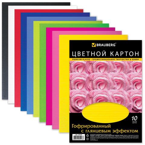 Цветной картон, А4, гофрированный с глянцем, 10 листов, 10 цветов, BRAUBERG, 210х297 мм