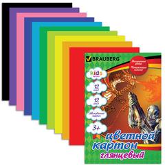 Цветной картон, А4, мелованный, 12 цветов, 200 г/<wbr/>м<sup>2</sup>, BRAUBERG «Сила дракона», 200×290 мм