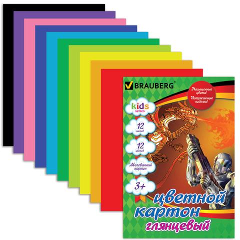 """Цветной картон, А4, мелованный, 12 листов, 12 цветов, BRAUBERG """"Kids series"""", """"Сила дракона"""", 200х290 мм"""