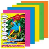 Цветной картон, А4, флуоресцентный, 10 листов, 5 цветов, BRAUBERG (БРАУБЕРГ) «Kids series», 200×290 мм