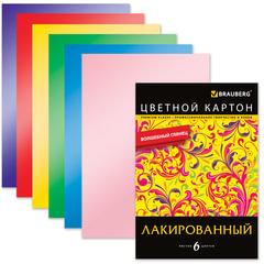 Цветной картон, А4, лакированный, с волшебным глянцем, 6 листов, 6 цветов, BRAUBERG, 200×290 мм