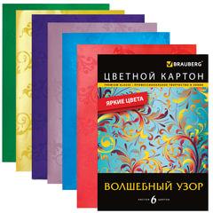 Цветной картон, А4, с глянцевым узором, 6 цветов, 235 г/<wbr/>м<sup>2</sup>, BRAUBERG, 200×290 мм