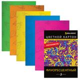 Цветной картон, А4, флуоресцентный, с узором из блесток, 5 листов, 5 цветов, BRAUBERG (БРАУБЕРГ), 200×290 мм