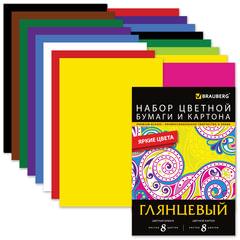 Цветная бумага и цветной картон, А4, мелованные, 8+8 листов, 8+8 цветов, BRAUBERG, 200×290 мм