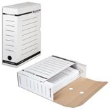 Накопитель документов, лоток-коробка BRAUBERG (БРАУБЕРГ), 100 мм, белый, до 900 л.