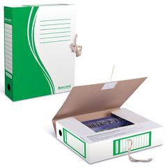 Папка архивная с завязками, микрогофрокартон, 75 мм, до 700 листов, зеленая, BRAUBERG
